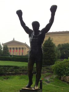 A triumphant Rocky Balboa at the Philadelphia Museum of Art